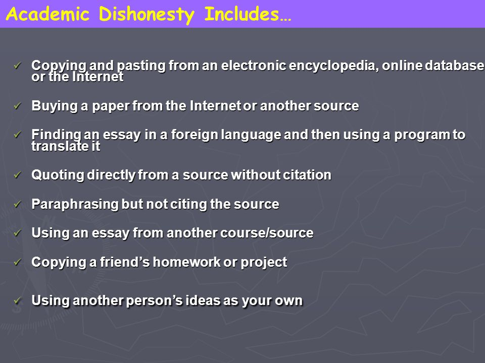 Academic Dishonesty Includes…