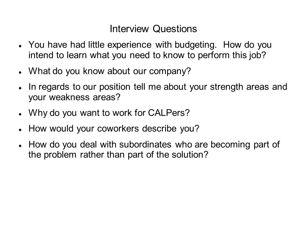 interview questions for budget analyst
