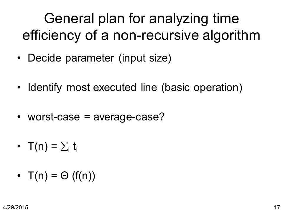 General plan for analyzing time efficiency of a non-recursive algorithm
