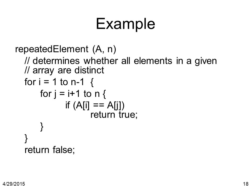 Example repeatedElement (A, n)
