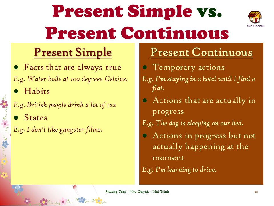 Present Simple vs. Present Continuous