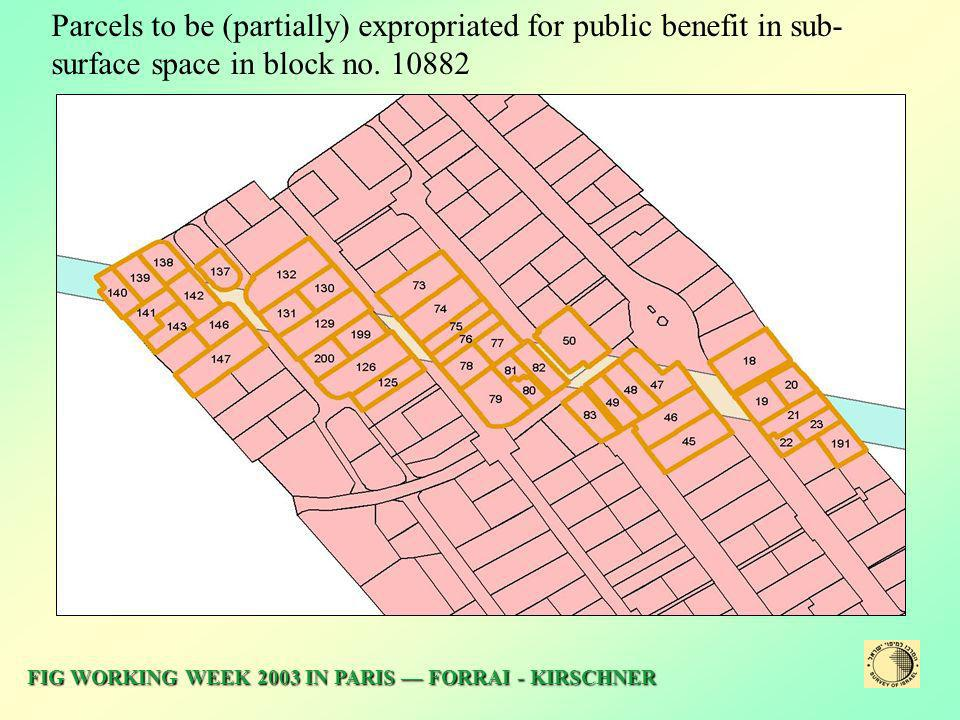Parcels to be (partially) expropriated for public benefit in sub-surface space in block no
