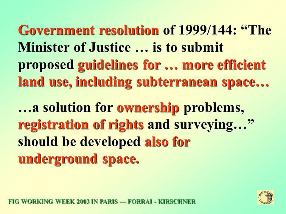 Government resolution of 1999/144: The Minister of Justice … is to submit proposed guidelines for … more efficient land use, including subterranean space…