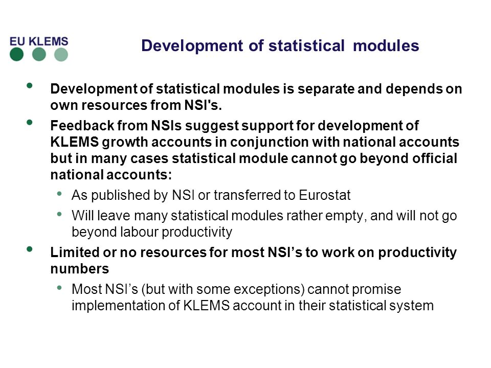Development of statistical modules
