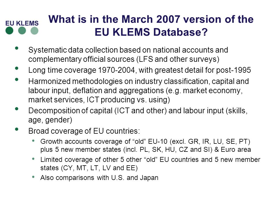 What is in the March 2007 version of the EU KLEMS Database