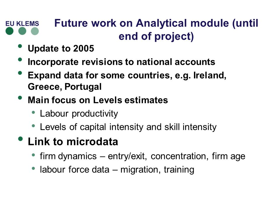 Future work on Analytical module (until end of project)