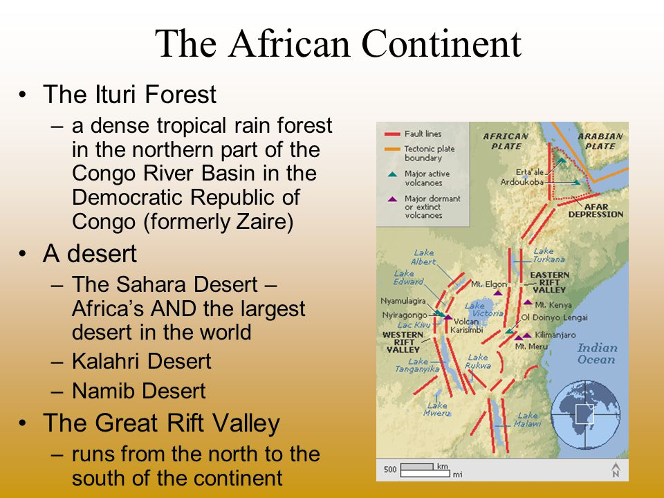 The African Continent The Ituri Forest A desert The Great Rift Valley