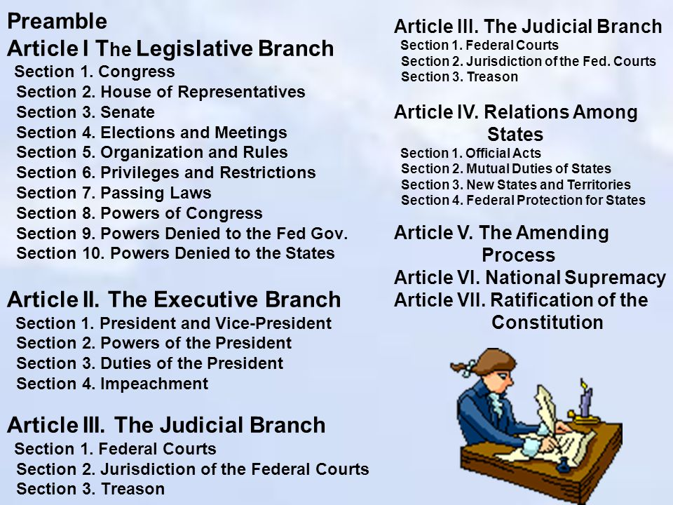 how the constitutions articles i vii protect On june 21, 1788, the constitution had been ratified by the minimum of nine states required under article vii towards the end of july, and with eleven states then having ratified, the process of organizing the new government began.