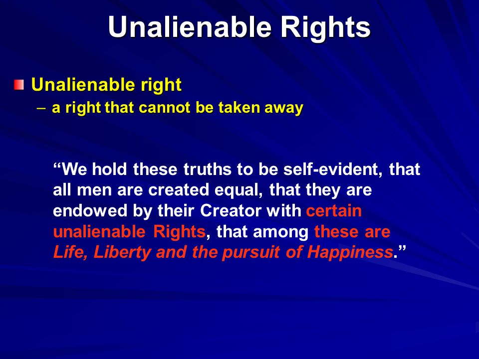 Unalienable Rights Unalienable right