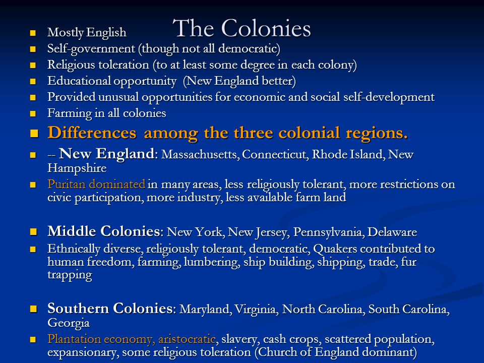 differences among colonial regions