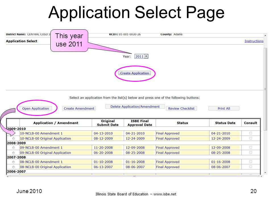 Application Select Page