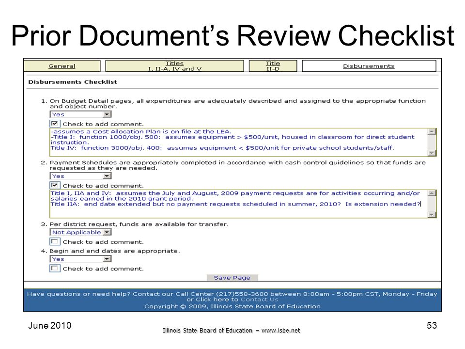 Prior Document's Review Checklist