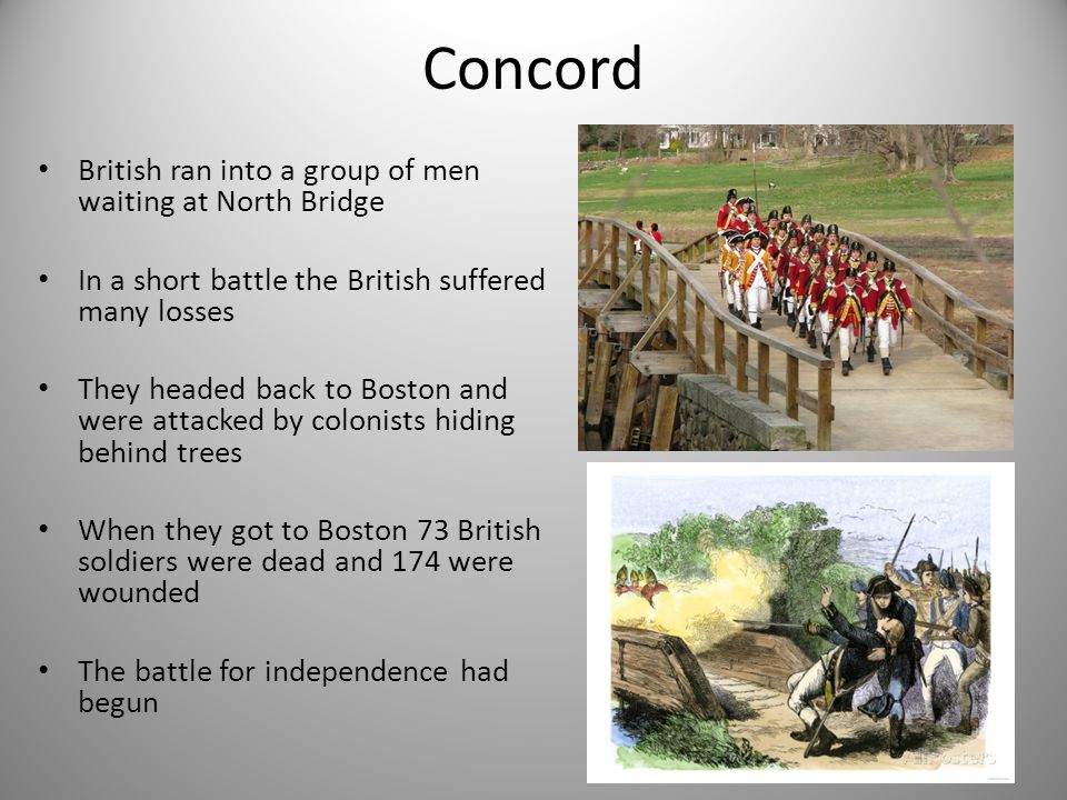 Concord British ran into a group of men waiting at North Bridge