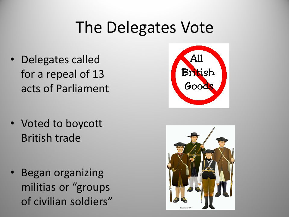 The Delegates Vote Delegates called for a repeal of 13 acts of Parliament. Voted to boycott British trade.