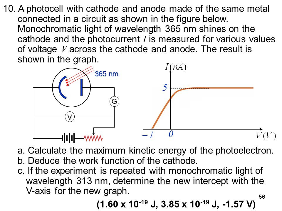 a. Calculate the maximum kinetic energy of the photoelectron.