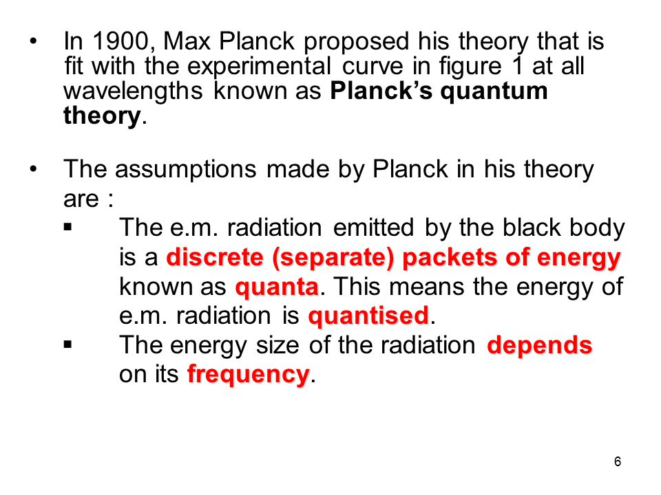 In 1900, Max Planck proposed his theory that is