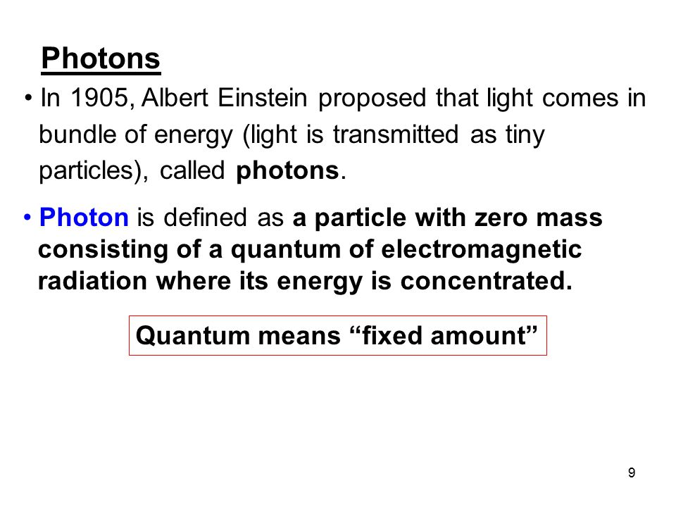 Photons In 1905, Albert Einstein proposed that light comes in