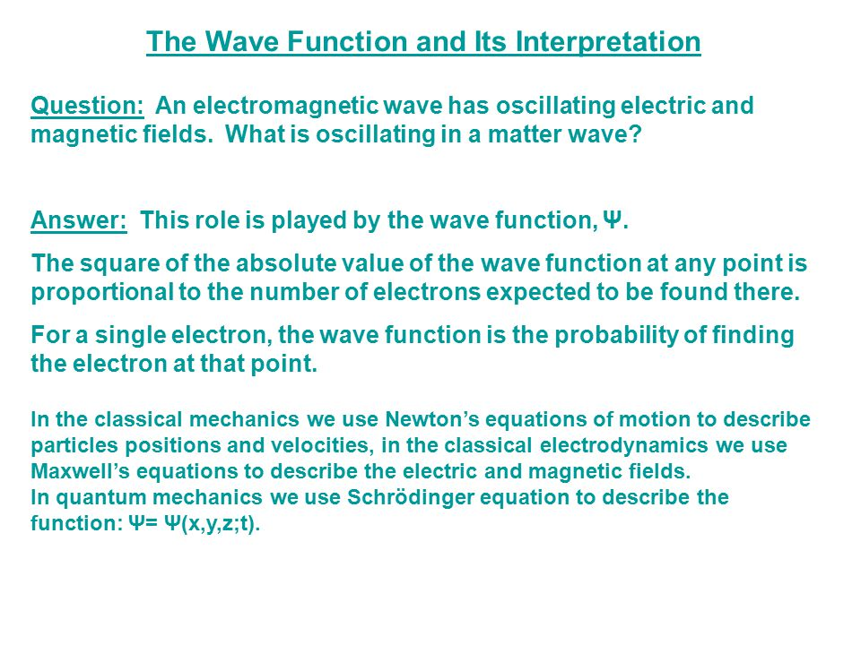 The Wave Function and Its Interpretation