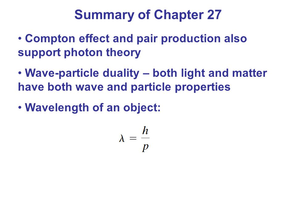 Summary of Chapter 27 Compton effect and pair production also support photon theory.