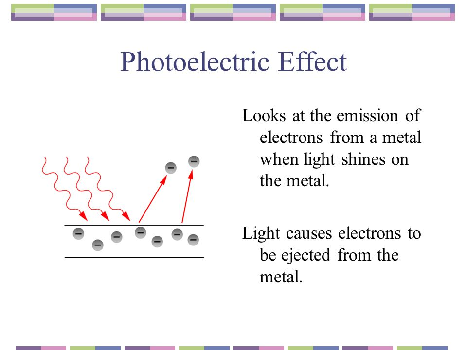 Photoelectric Effect Looks at the emission of electrons from a metal when light shines on the metal.