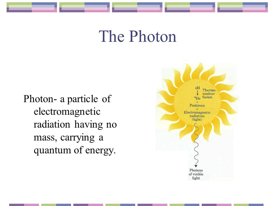 The Photon Photon- a particle of electromagnetic radiation having no mass, carrying a quantum of energy.