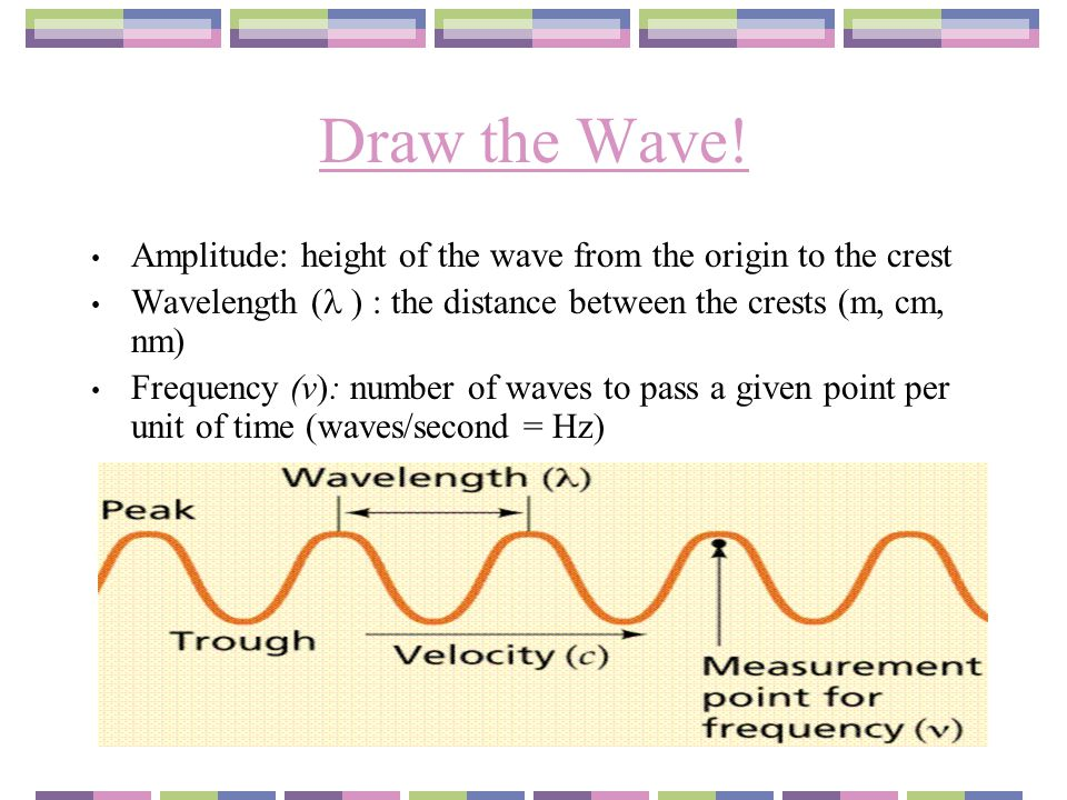 Draw the Wave! Amplitude: height of the wave from the origin to the crest. Wavelength ( ) : the distance between the crests (m, cm, nm)