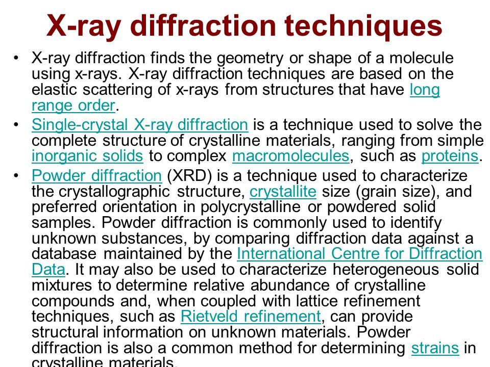 Unit-ii x-ray diffraction: basic principles, bragg's law, powder.
