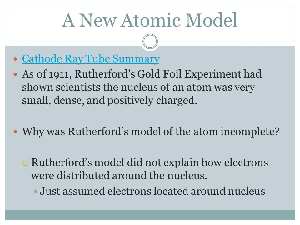 A New Atomic Model Cathode Ray Tube Summary