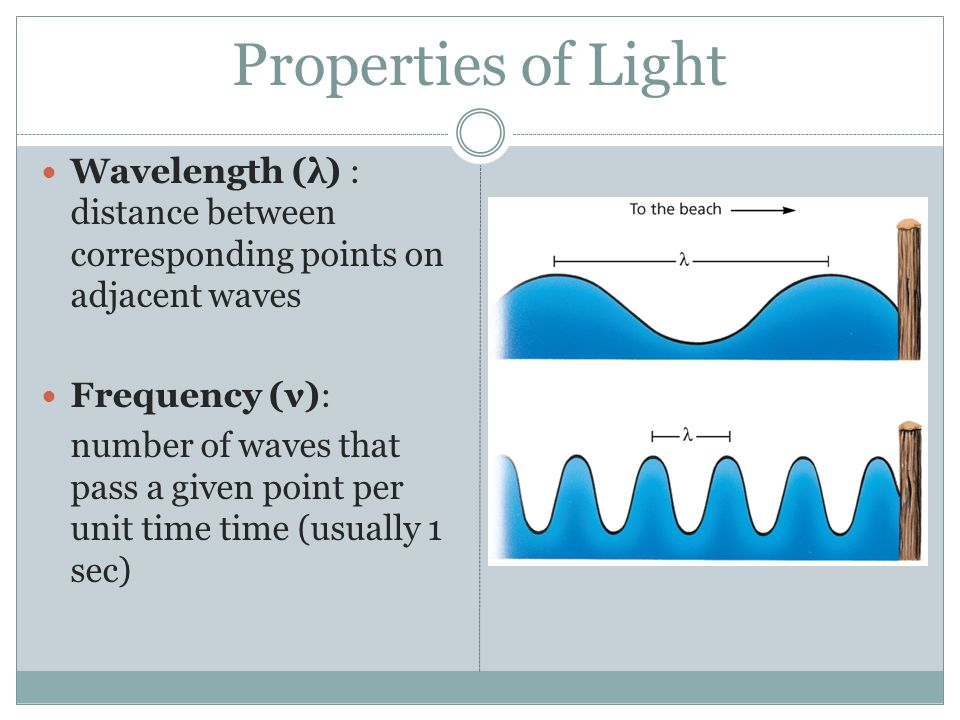 Properties of Light Wavelength (λ) : distance between corresponding points on adjacent waves. Frequency (ν):
