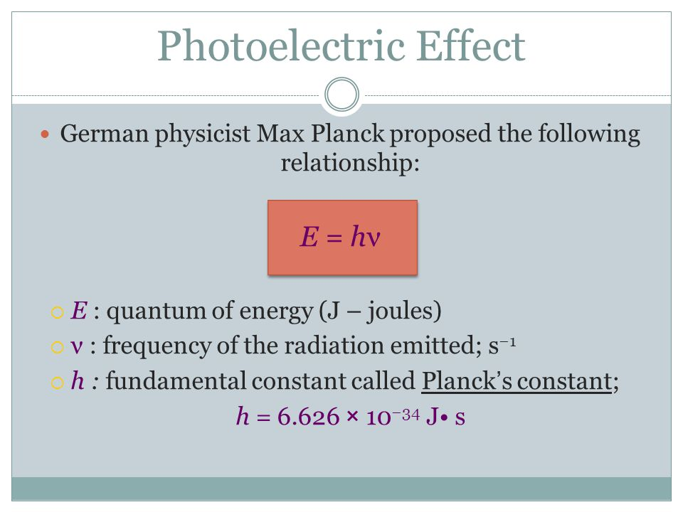 German physicist Max Planck proposed the following relationship: