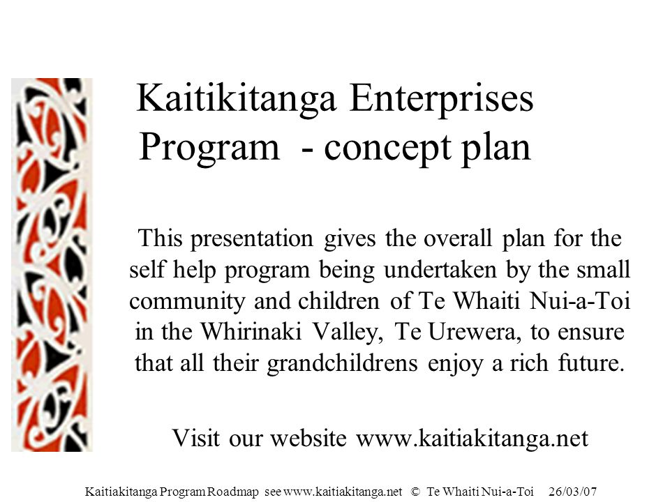 Kaitikitanga Enterprises Program - concept plan
