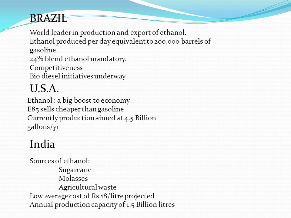 BRAZIL U.S.A. India World leader in production and export of ethanol.