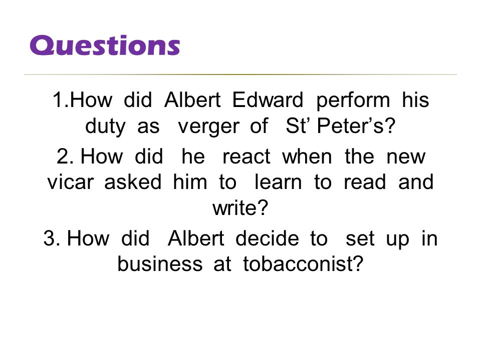 A comparison of w somerset maughms characters albert edward and the new vicar