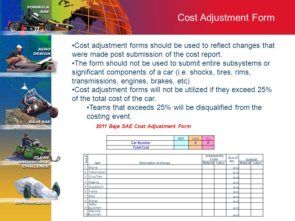2011 Baja SAE Cost Adjustment Form