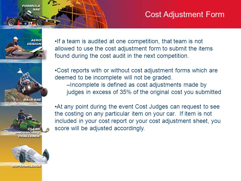 Cost Adjustment Form