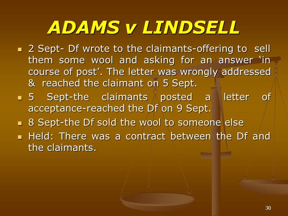 adams v lindsell full case
