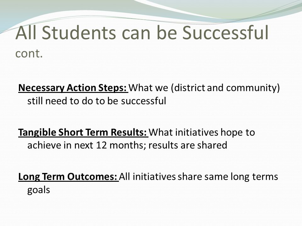 All Students can be Successful cont.