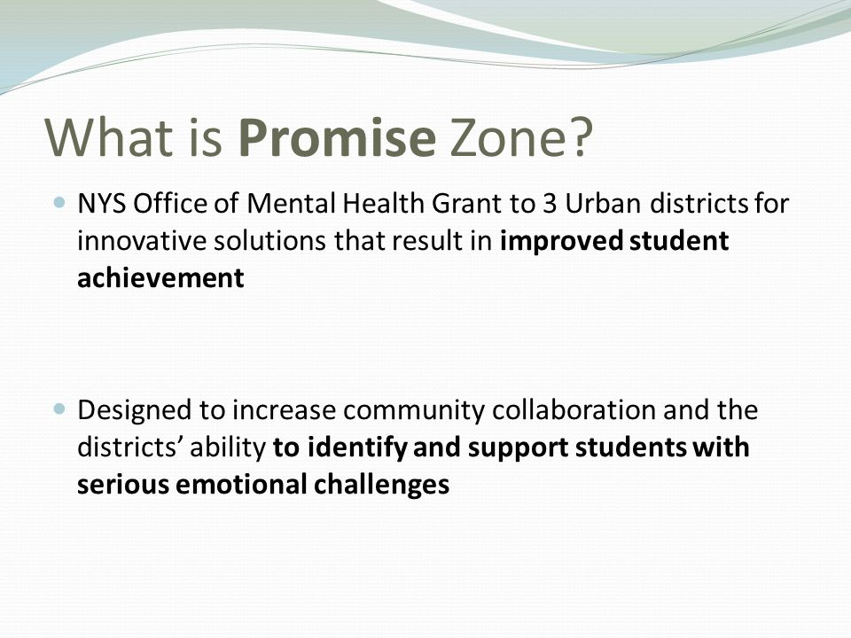 What is Promise Zone NYS Office of Mental Health Grant to 3 Urban districts for innovative solutions that result in improved student achievement.