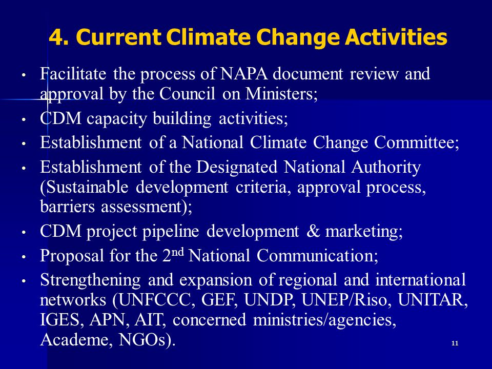 4. Current Climate Change Activities
