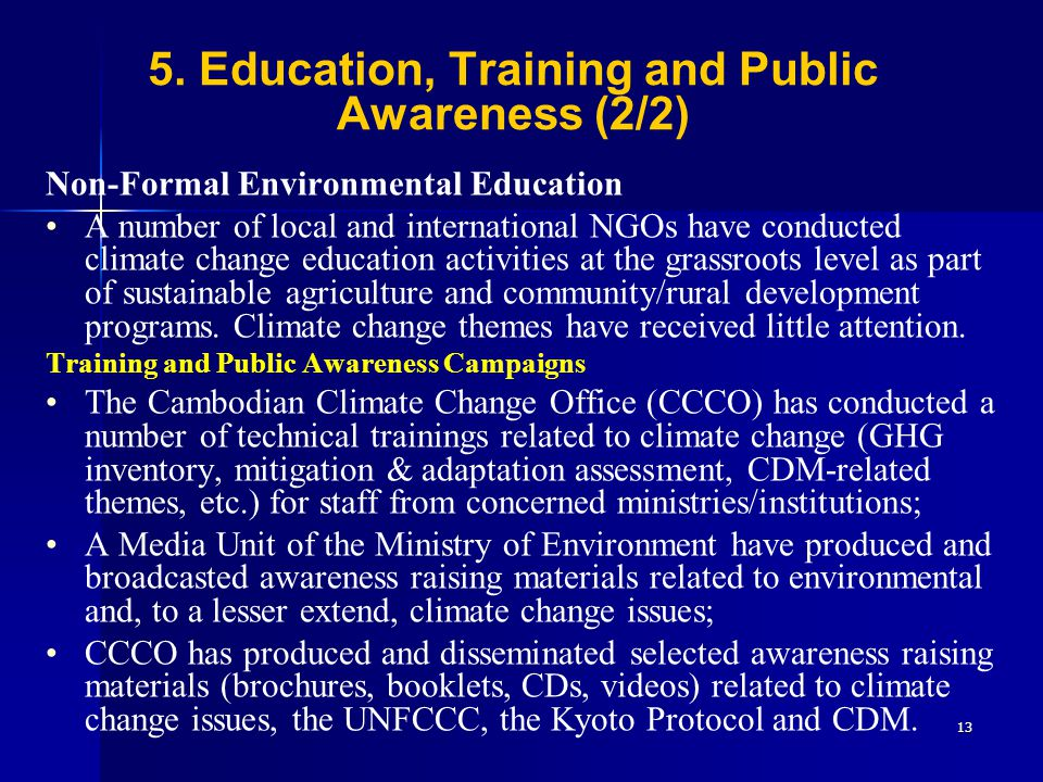 5. Education, Training and Public Awareness (2/2)
