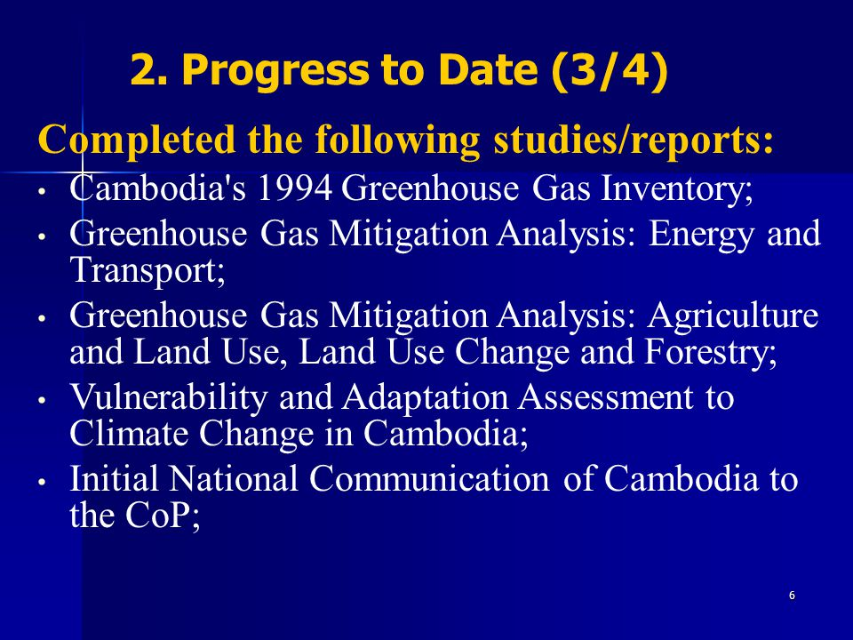 Completed the following studies/reports: