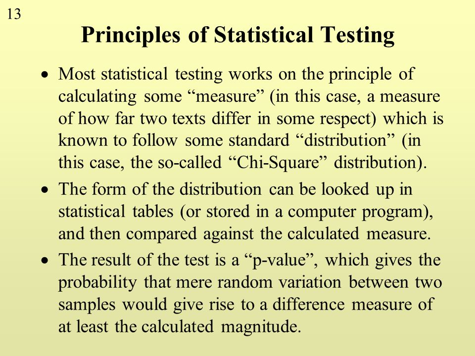 Principles of Statistical Testing