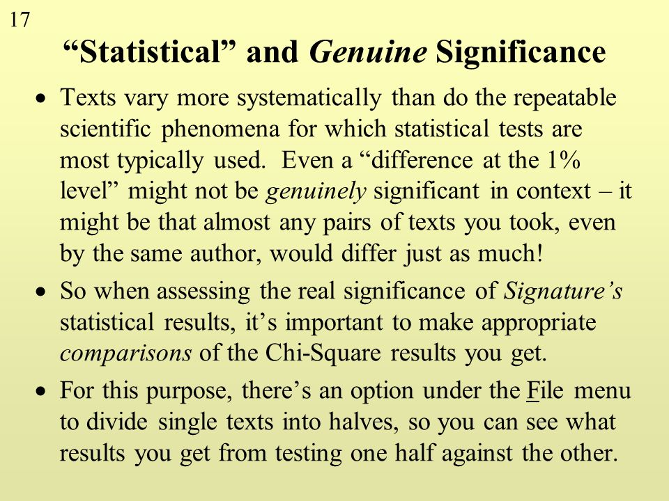 Statistical and Genuine Significance