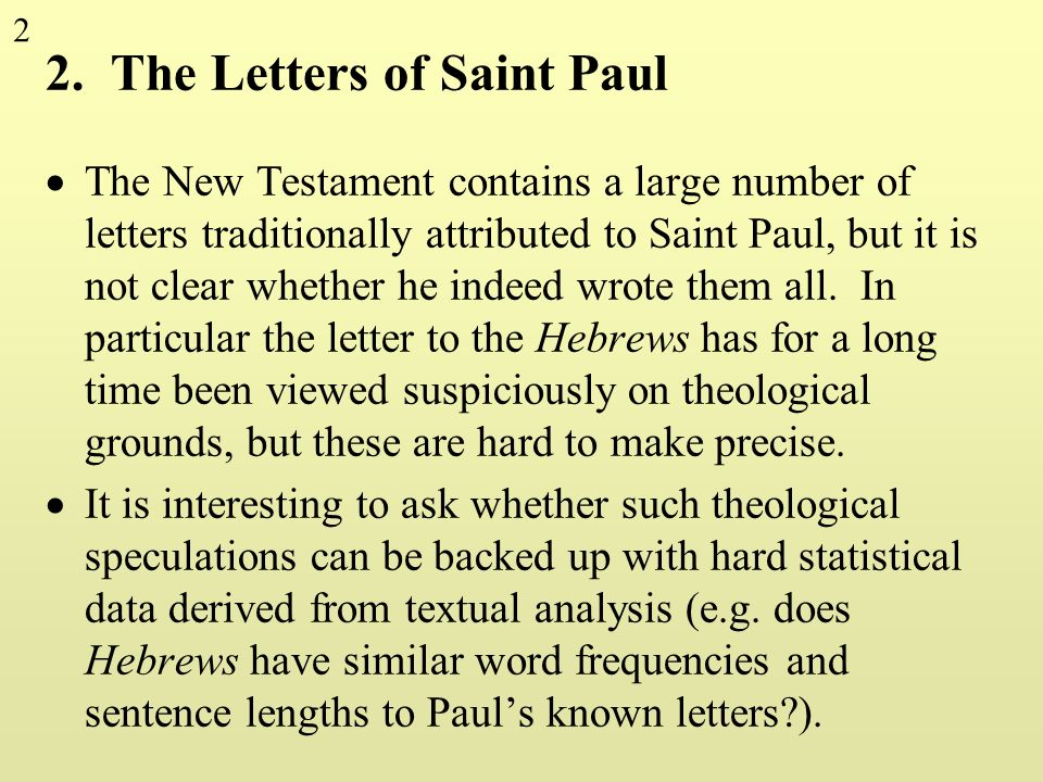 2. The Letters of Saint Paul