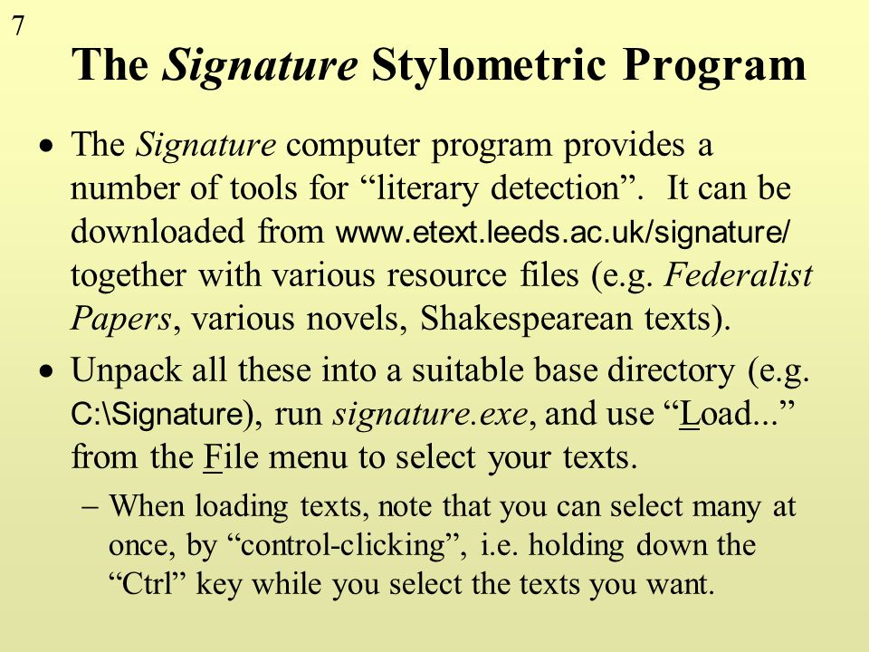 The Signature Stylometric Program