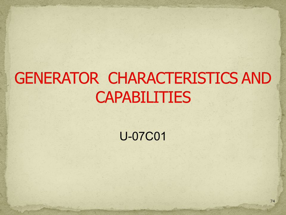 Generator Characteristics And Capabilities Ppt Video