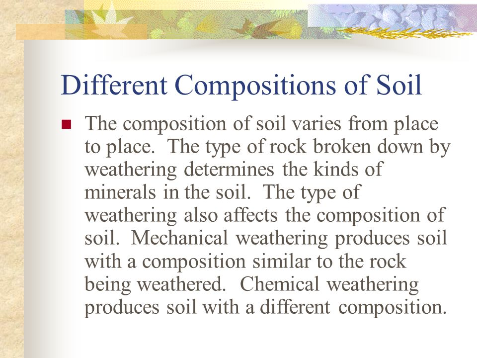 Different Compositions of Soil