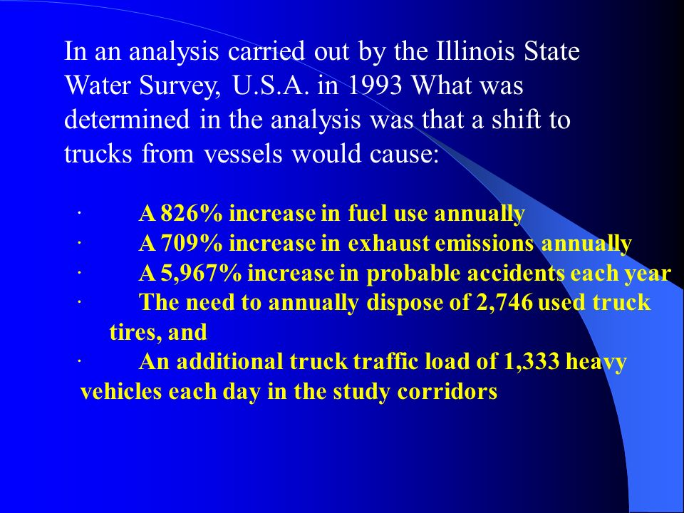 In an analysis carried out by the Illinois State Water Survey, U. S. A