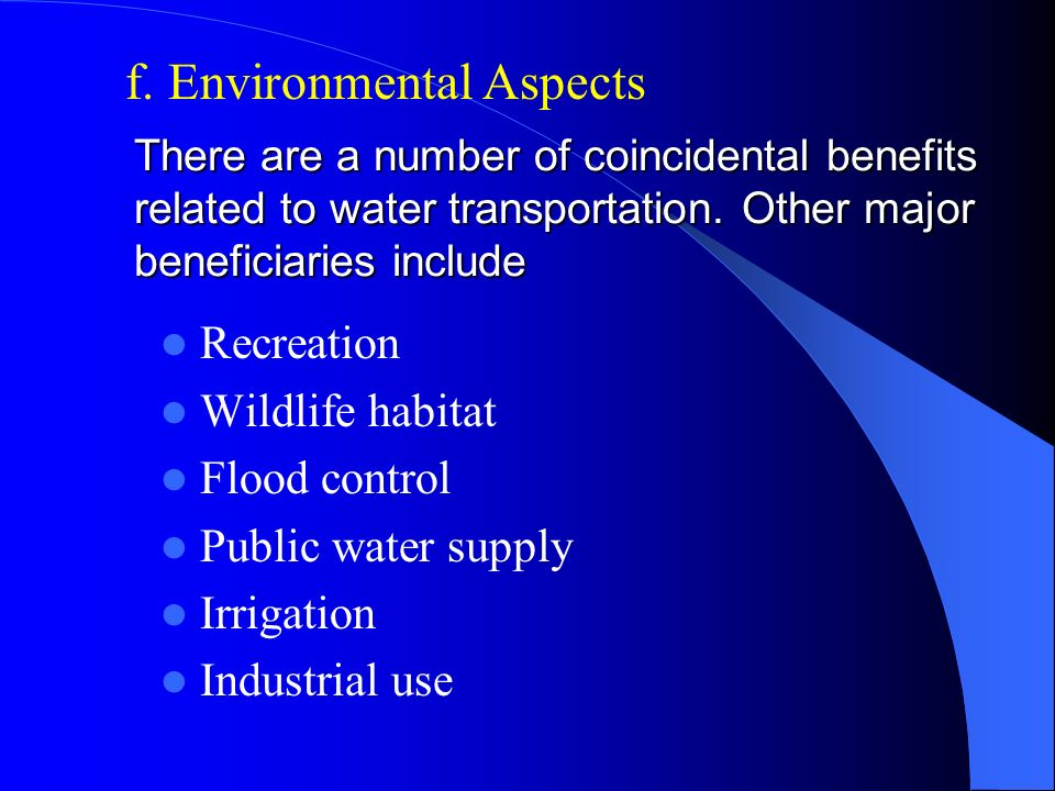 f. Environmental Aspects