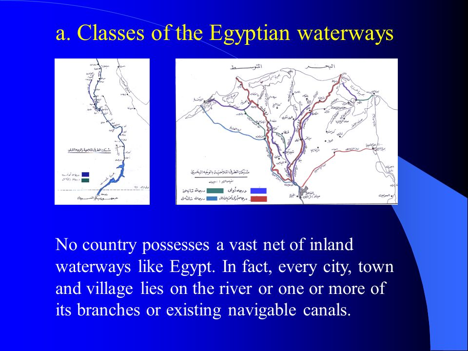 a. Classes of the Egyptian waterways